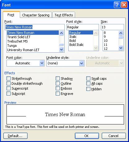 Hướng dẫn Word 2003 cơ bản: Tìm, thay thế, đổi Font chữ - Phần 4