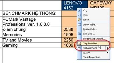 Thủ thuật Microsoft Word: Đổi chiều dòng chữ trong bảng