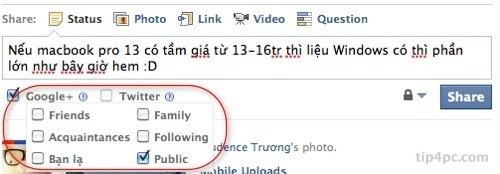 Từ facebook bạn có thể chọn vòng (circles) bạn muốn hiện status trên G+