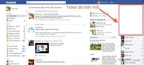 Tắt thanh Ticker trên Facebook