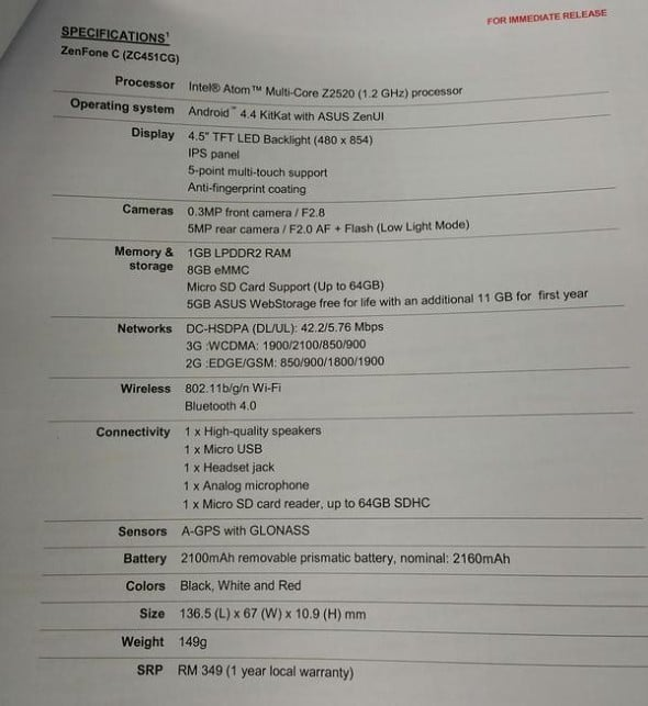 ASUS chính thức ra mắt ASUS ZenFone C tại Malaysia
