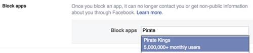 Thao tác chặn một trò chơi trên Facebook