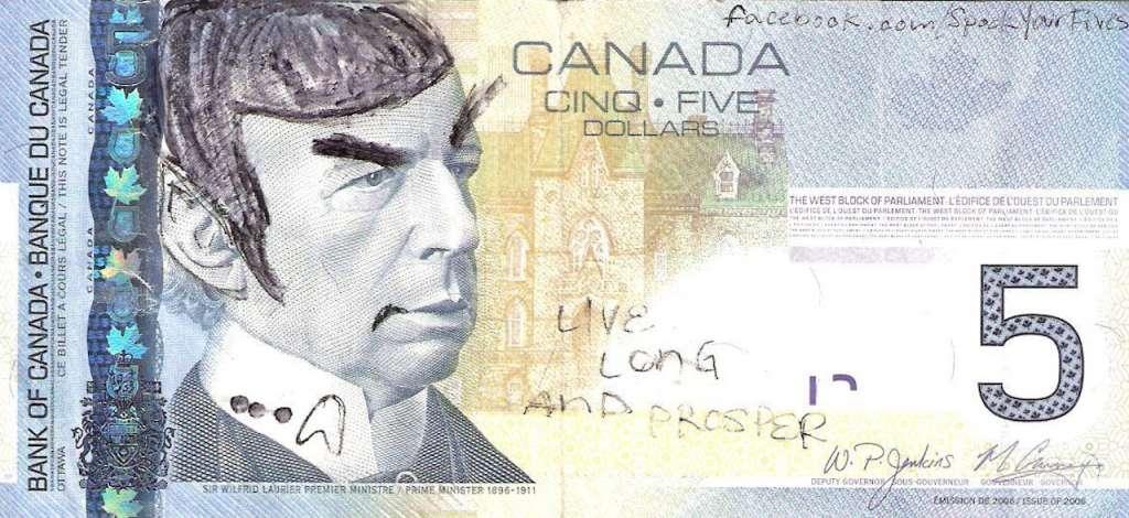 Tờ 5 USD Canada bị vẽ lại thành hình
