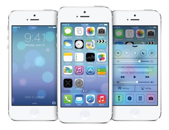 iOS 7: Tại hội nghị các nhà phát triển tháng 6/2013, Jony Ive đã giới thiệu iOS 7 với ngôn ngữ thiết kế hoàn toàn mới - Material design. Theo đó, các icon, phông chữ, giao diện người dùng, Trung tâm thông báo, cải thiện đa nhiệm trên iPhone, Safari đơn giản hơn xuất hiện, với các thao tác trượt. iOS 7 còn được Apple tích hợp iTunes Radio vào thư mục Âm nhạc. Đặc biệt, từ iPhone 5S trở đi, người dùng có thể quay Slow-motion với 120 khung hình 1 giây.