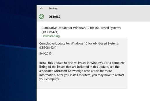 Microsoft ra bản cập nhật tiếp theo cho Windows 10 1
