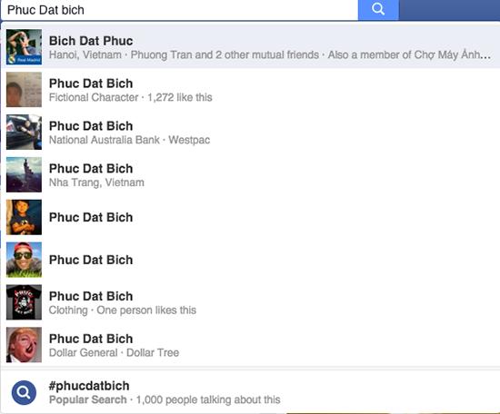 """Có khá nhiều người dùng Việt mang tên Phuc Dat Bich trên Facebook, nhưng không bị mạng xã hội này """"tính sổ"""""""