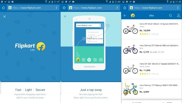 Giao diện trang mobile web của Flipkart (m.flipkart.com) xem trên trình duyệt Chrome