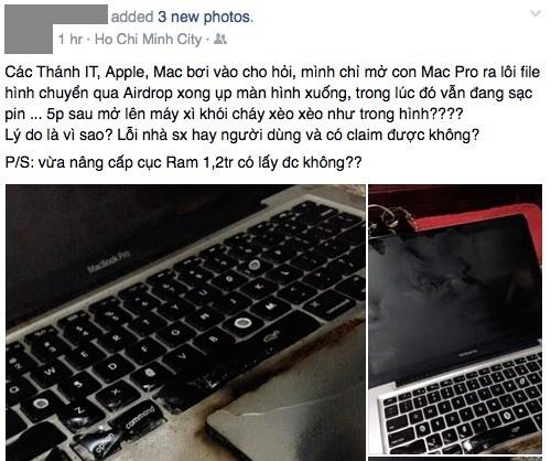 Chủ nhân chiếc Macbook Pro 13 inch đăng trạng thái buồn bã vì máy bị cháy đen
