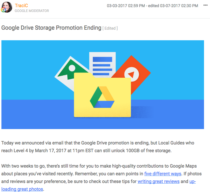Google đã dừng chương trình tặng dung lượng lưu trữ miễn phí khi lên cấp Local Guide
