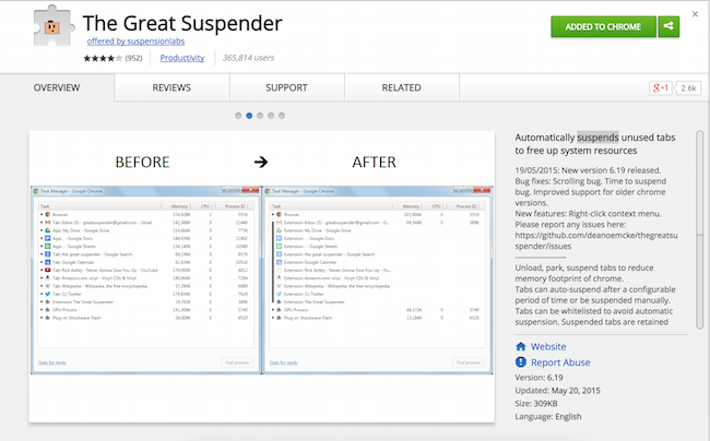 The Great Suspender: giải quyết vấn đề ăn RAM của Chrome một cách triệt để