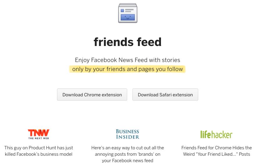 Ứng dụng lọc News Feed Facebook với tên Friends Feed