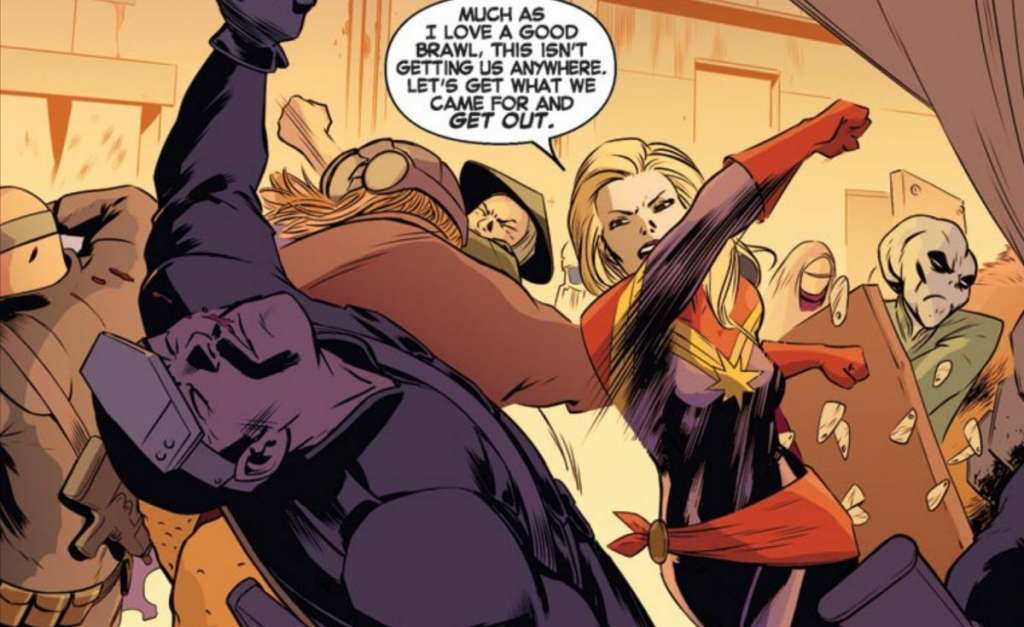 Captain Marvel, real name Carol Danvers, has super speed, strength, can fly, and fires explosive blasts from her fingertips. In the comics, she's been part of the Avengers, A-Force and X-Men.