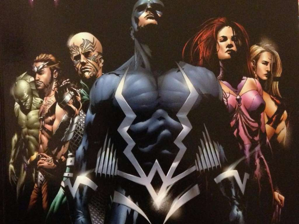 The Inhumans are a prehistoric race of super-powered humans. Led by Black Bolt (in the center) their mutations come from Terrigan Mists. This storyline is explored in ABC's