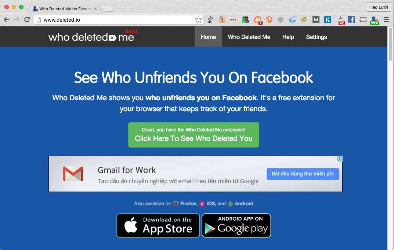 Ứng dụng giúp phát hiện ai đó Unfriends bạn trên Facebook