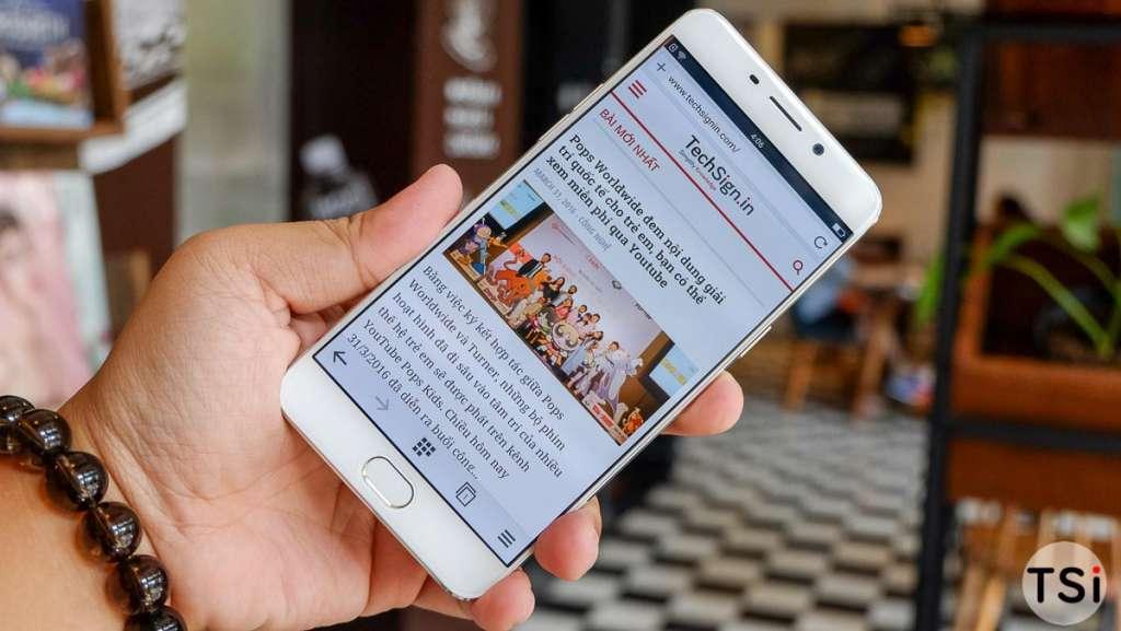 Ảnh cận cảnh Oppo F1 Plus: cảm biến vân tay nút Home, màn 5,5 inch Full HD