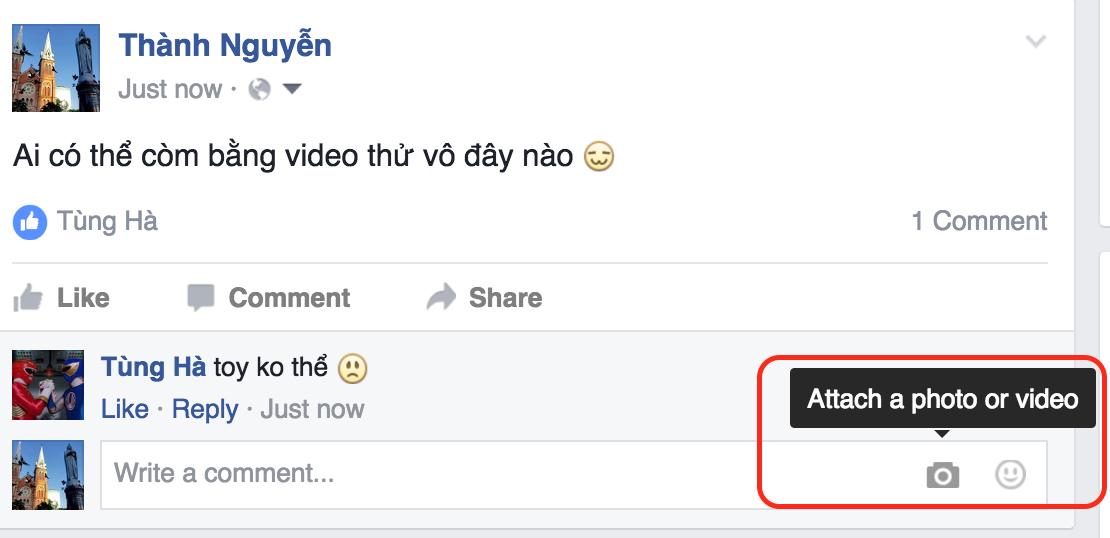 Sau ảnh và stickers, Facebook cho phép đưa video vào comment, nhiều người dùng đã được thử
