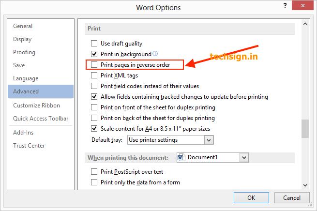 Làm thế nào sửa lỗi in ngược thứ tự trang trong Microsoft Word