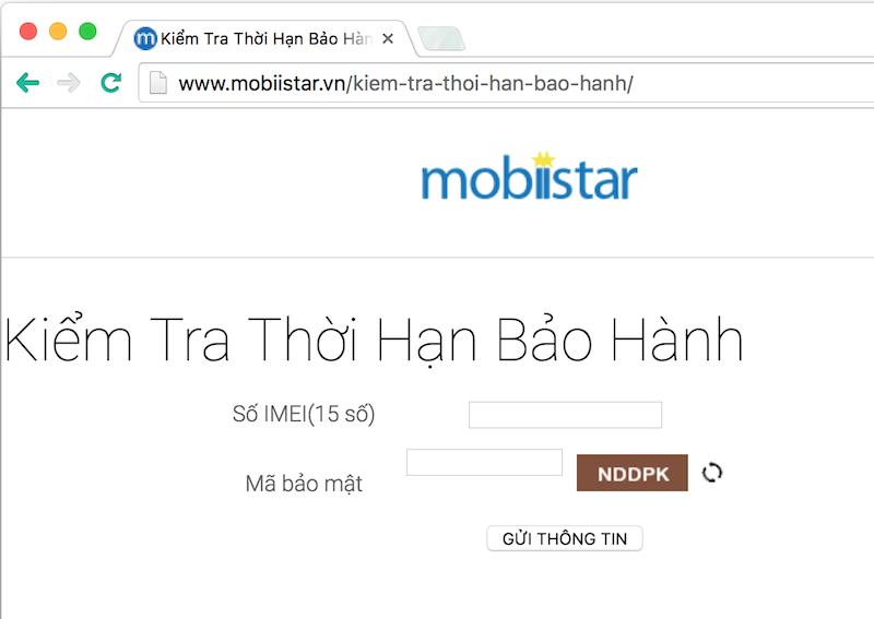 Kiểm tra bảo hành điện thoại Mobiistar