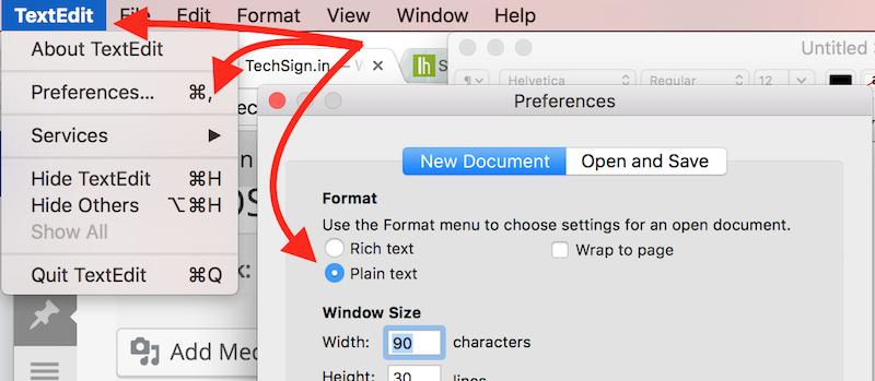 Mac OS: chỉnh plain text làm mặc định trong ứng dụng TextEdit