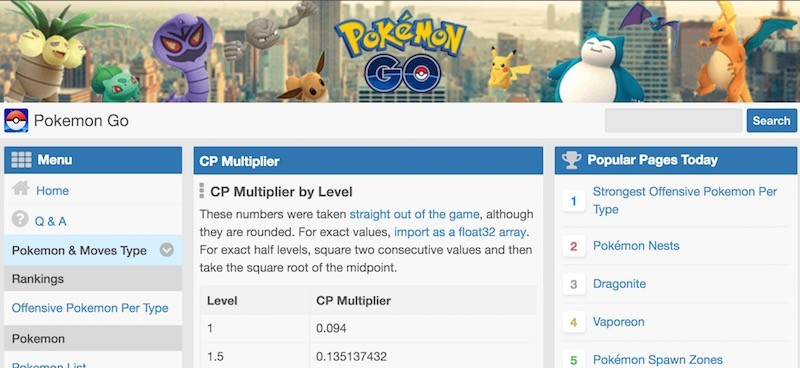 pokemon go tính chỉ số ivs skill level cp multiplier tiến hóa