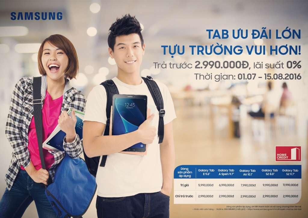 Samsung tung ưu đãi mùa tựu trường: trả góp 0% khi mua Galaxy Tab