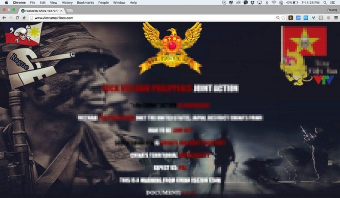 Website Vietnam Airlines bị hacker Trung Quốc thay trang chủ