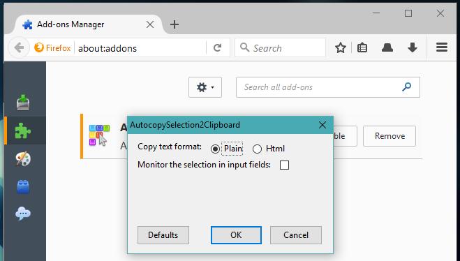 Tự động sao chép nội dung được chọn trong Firefox