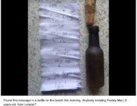 Cậu bé 6 tuổi và sự lạc quan đáng yêu khi gửi tin nhắn trong vỏ chai xuống biển