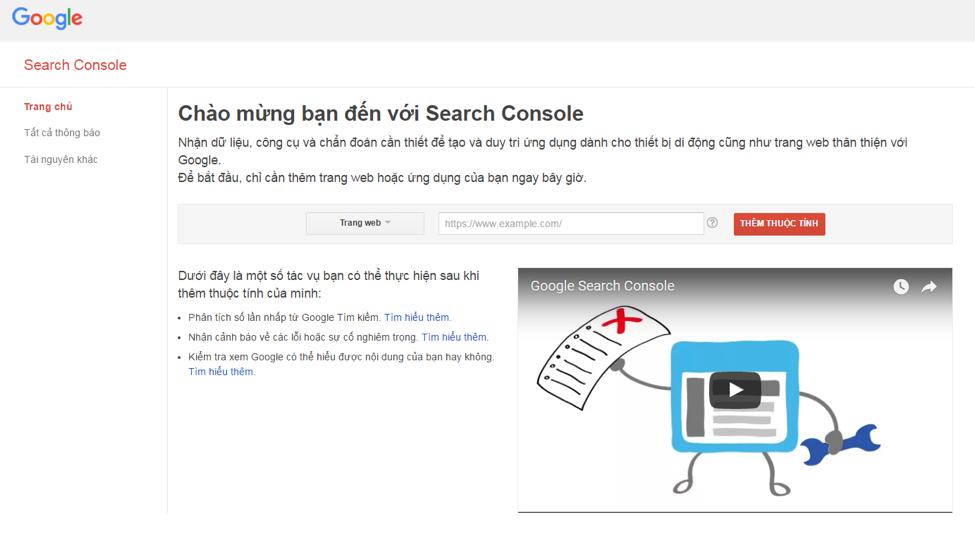 Màn hình Google Search Console