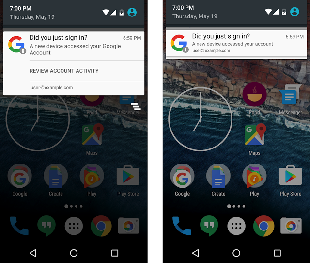 Google sẽ thông báo qua Android khi tài khoản đăng nhập thiết bị mới