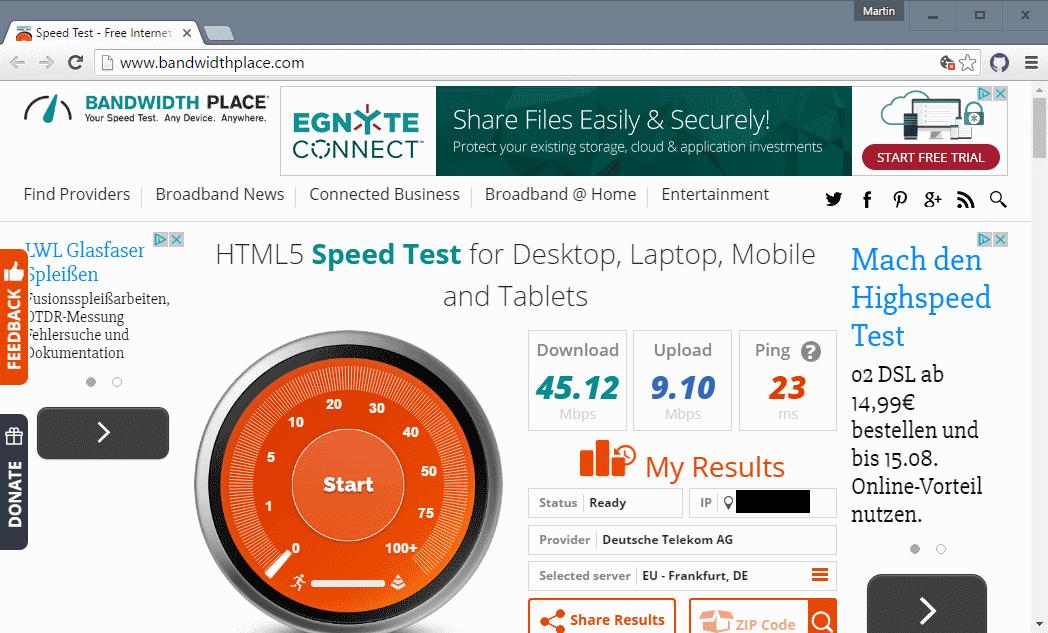 Kiểm tra tốc độ kết nối internet của bạn với HTML5