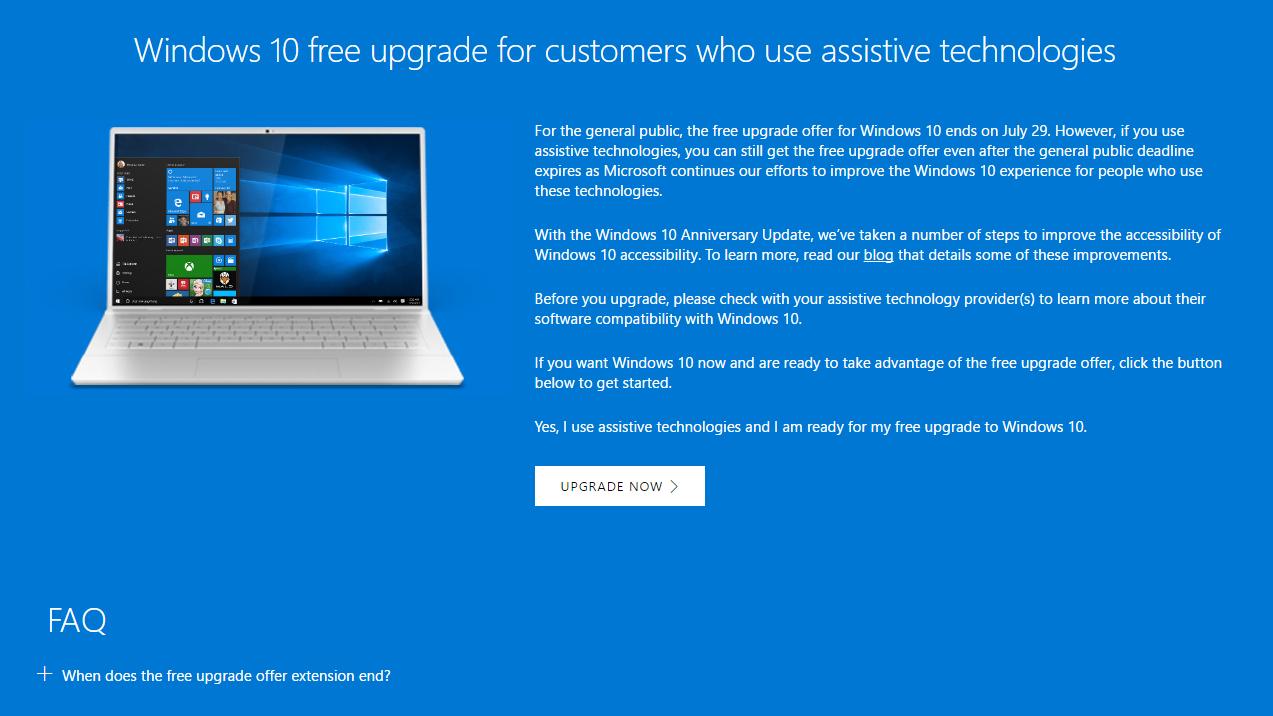 Microsoft vẫn hỗ trợ nâng lên Windows 10 cho người khuyết tật