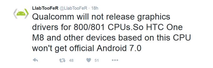 Smartphone dùng Snapdragon 800/801 không thể lên Android Nougat