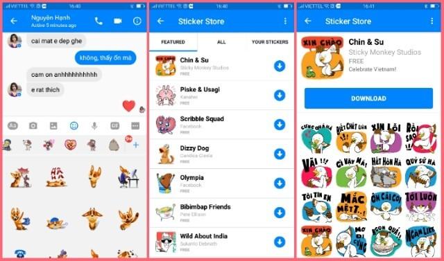 Facebook có bộ sticker tiếng Việt tên Chin & Shu