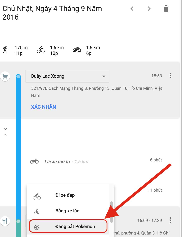 """Google Maps thêm """"Đang bắt Pokemon"""" vào dòng thời gian (Timeline)"""