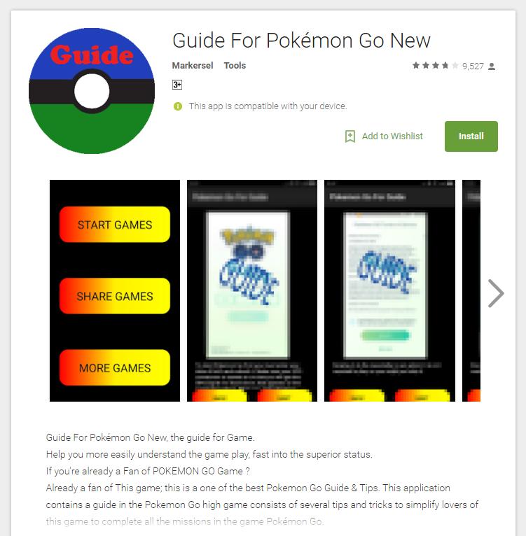 Xuất hiện ứng dụng ăn theo game Pokemon Go trên Android