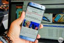 Ảnh cận cảnh Samsung Galaxy S7 Edge màu Blue Coral