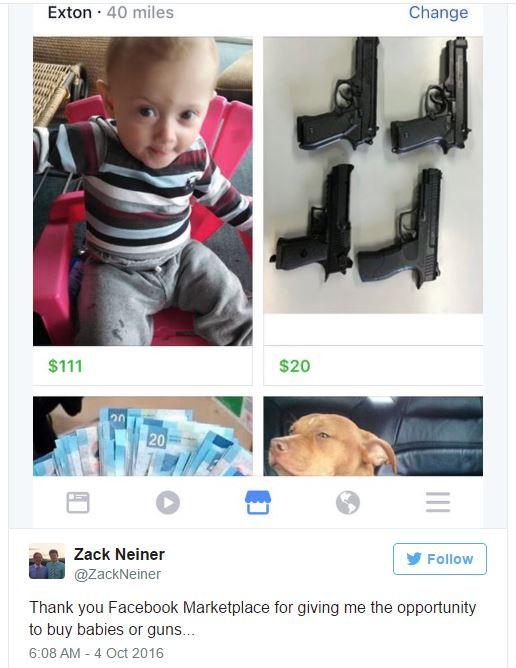 Nhờ Facebook Marketplace mà tôi có cơ hội mua cả trẻ em và súng, một người dùng Twitter pha trò