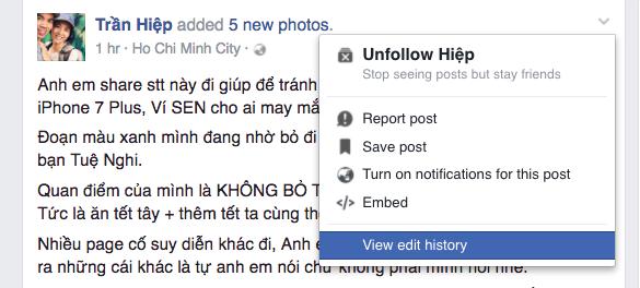 Facebook bỏ hiển thị chỉnh sửa trên bài viết