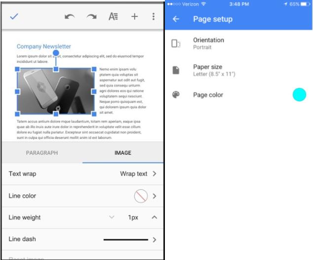 Google Docs và Sheets cập nhật tính năng mới trên di động