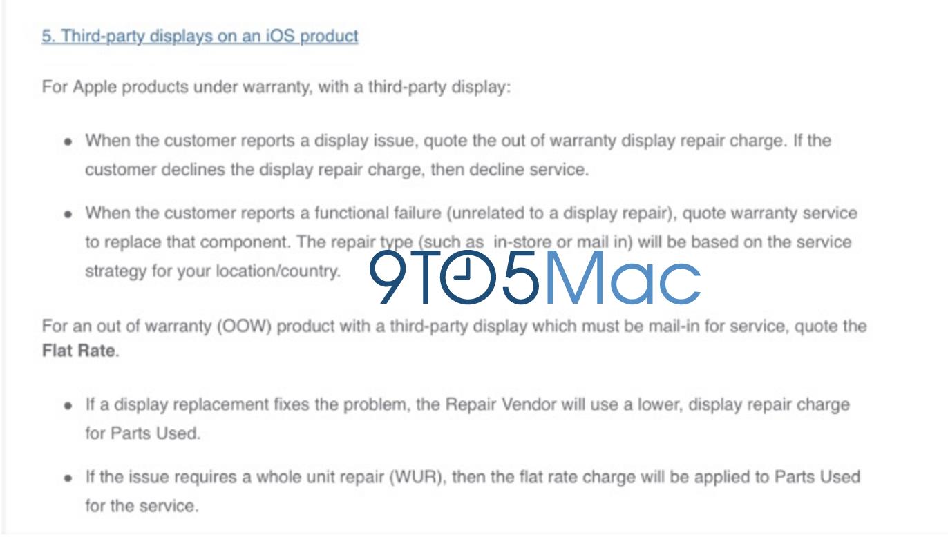 Chính sách mới cho iPhone: Thay màn hình hãng khác vẫn được Apple bảo hành