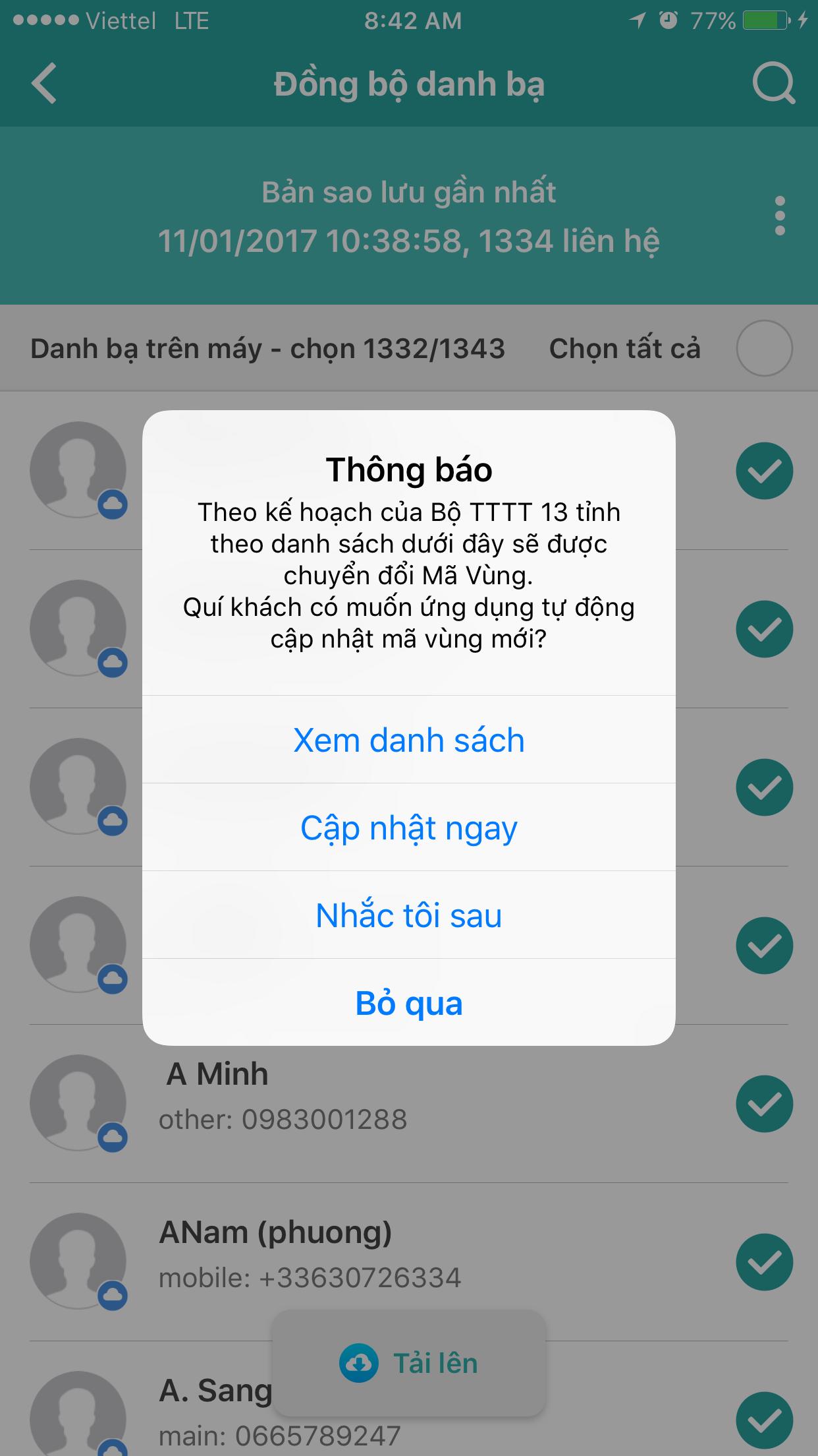 Đồng bộ danh bạ với mã vùng mới bằng ứng dụng My Viettel