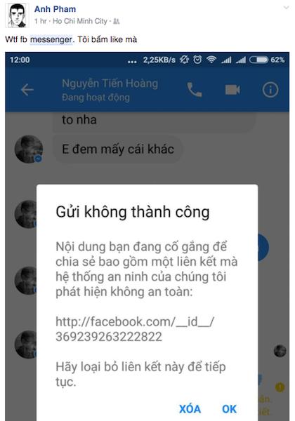 Messenger trên Facebook sáng nay bị lỗi không thể gửi nút Like