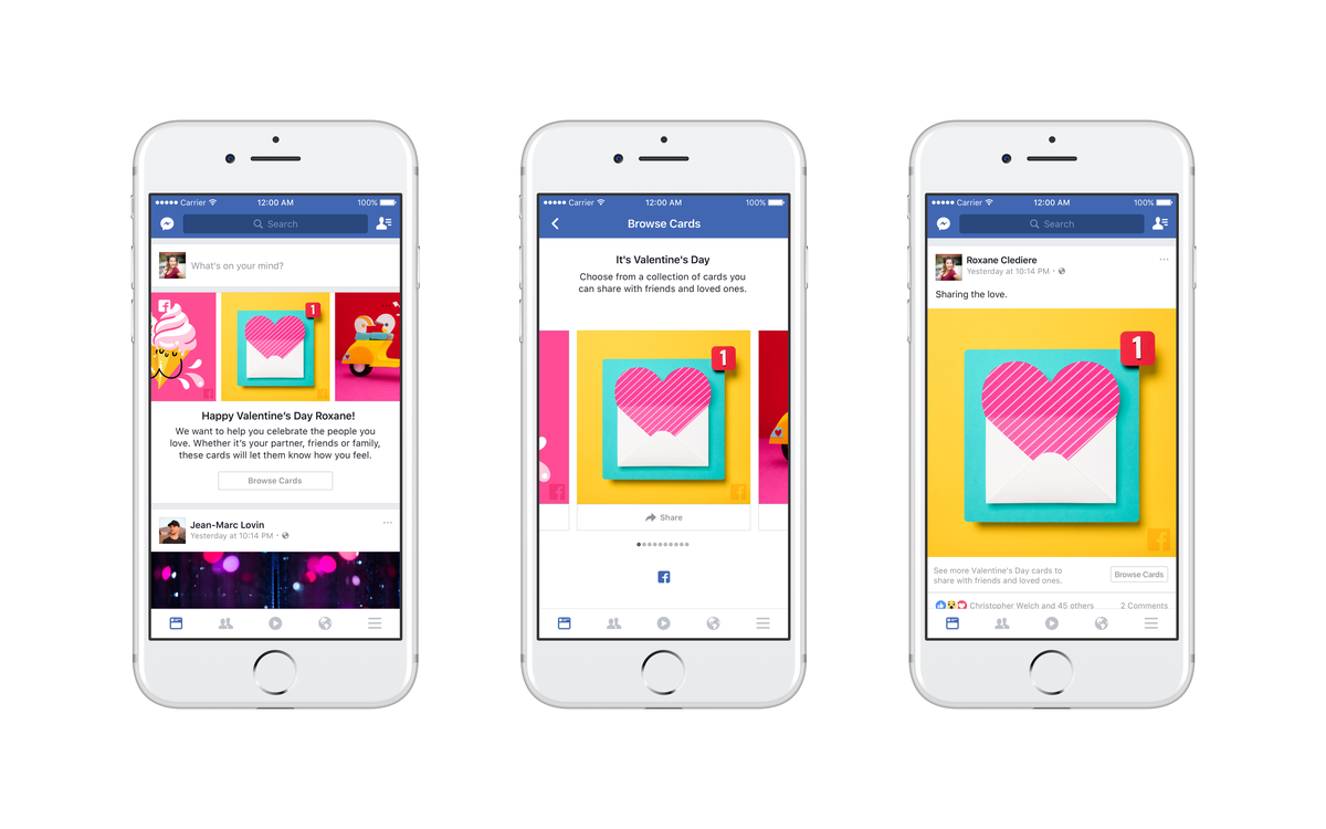 Facebook và Messenger mở tính năng gửi thiệp mừng Valentine