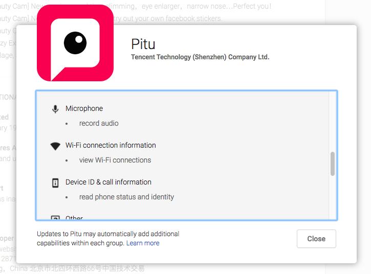 Tương tự Meitu, app làm đẹp Pitu cũng đòi bạn cấp rất nhiều quyền
