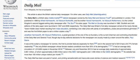 Wikipedia cấm dẫn nguồn thông tin từ Daily Mail