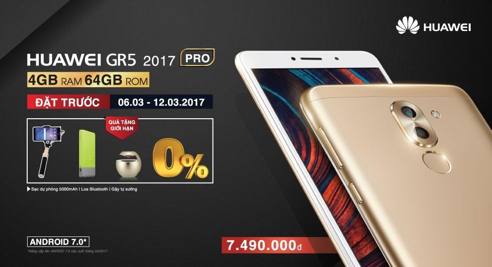 Huawei GR5 2017 Pro lên kệ: 4GB / 64GB, pin 3340mAh, giá 7,5 triệu đồng