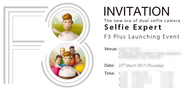 Hình thiệp mời ra mắt OPPO F3 Plus