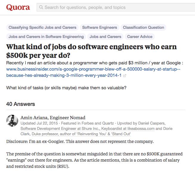 """Câu trả lời xuất sắc từ cựu kỹ sư Google cho câu hỏi """"Người kiếm được 500.000 USD/năm thường làm công việc gì?"""""""