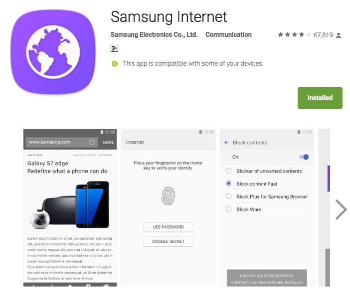 Samsung tung trình duyệt web riêng lên Google Play Store, hỗ trợ cả điện thoại Nexus và Pixel